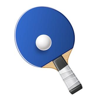 Realistische blauwe tafeltennisraket met bal pingpong sportuitrusting