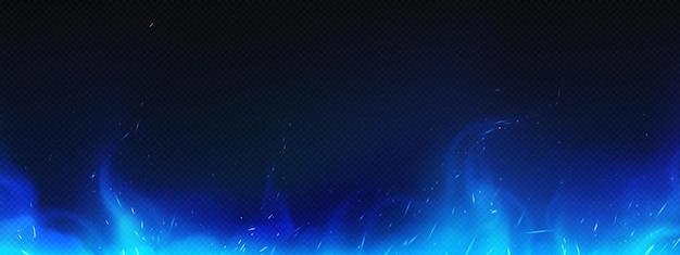 Realistische blauwe vuur- of smoggrens, brandende vlam met fonkelingen, vreugdevuur gloeiend effect, glanzende magische gloed of rooktongen frame ontwerp. 3d