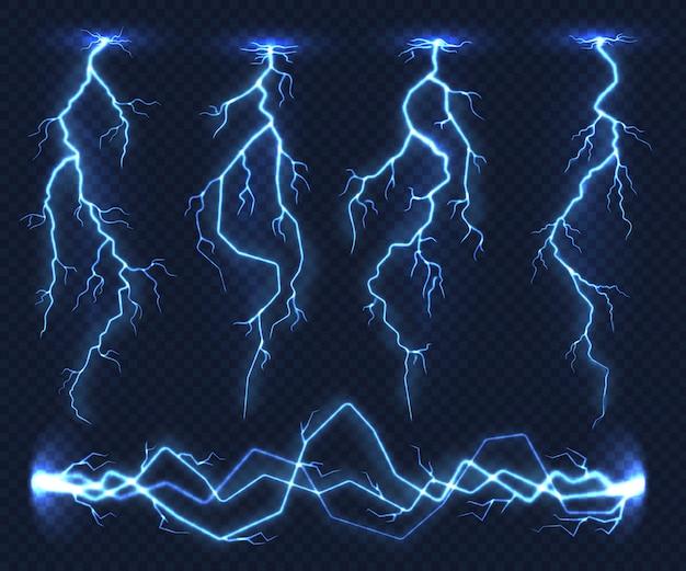 Realistische bliksemschichten. elektriciteit donderlicht storm flits onweer in de wolk. natuur kracht energie lading, donder schok