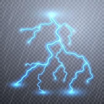 Realistische bliksemschichten met transparantie. onweer en bliksem. magische en heldere lichteffecten.