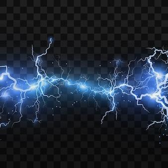 Realistische bliksemschichten op een zwarte transparante achtergrond de lading van energie is krachtig accumulatie van elektrische oranje en blauwe ladingen een natuurlijk fenomeen magisch effect