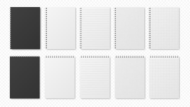 Realistische blocnotes. blanco vellen, open planners.