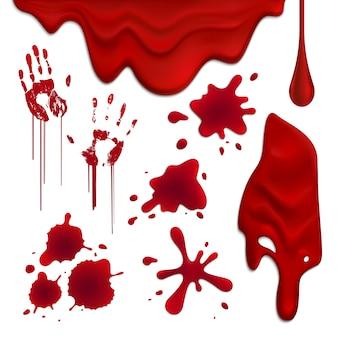 Realistische bloeddruppels en vlekken instellen illustratie