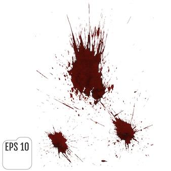 Realistische bloeddruppels. spatten en spuiten van bloed