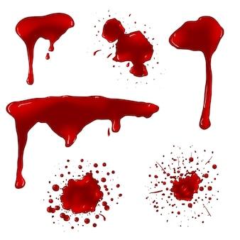 Realistische bloedspatten vector set. spat vloeistof, vlek inkt, vlek en vlek illustratie