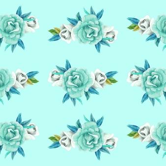 Realistische bloemen aquarel patroon