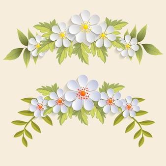 Realistische bloemen met geplaatste bladeren
