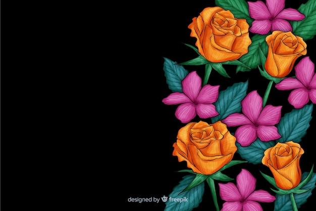 Realistische bloemen op een donkere achtergrond