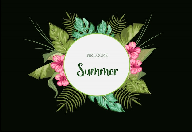 Realistische bloemen zomer achtergrondontwerp