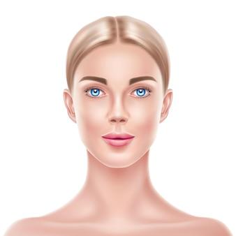 Realistische blonde vrouw model schoonheid gezicht