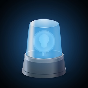 Realistische blue flasher light siren. waarschuwingsbord