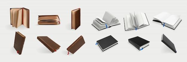 Realistische boeken instellen collectie
