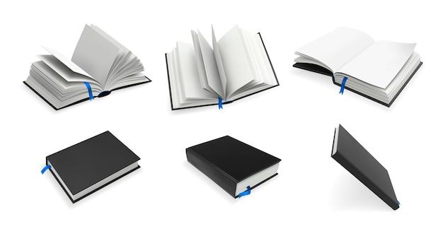Realistische boeken instellen.