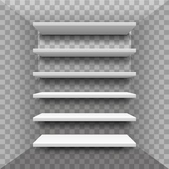 Realistische boekenplank. showcase. planken van multiplex frame in voedselwinkel. plaats voor een tentoonstelling. boekenkast winkel, rek, interieur, rekken