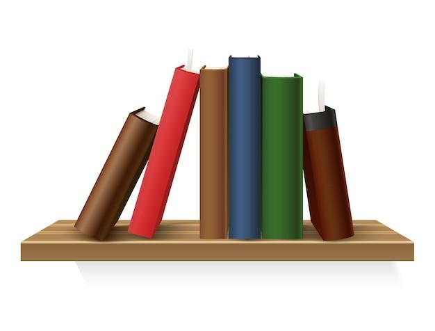 Realistische boekenstapel in hardcover bij plank.
