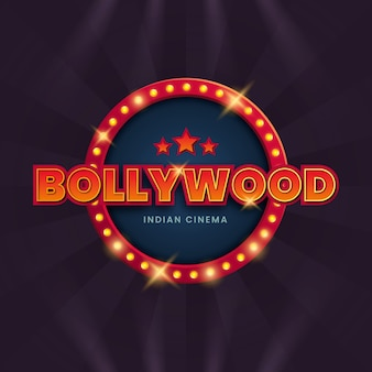 Realistische bollywood bioscoop teken illustratie