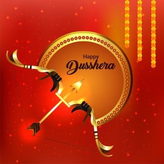 Realistische boog voor happy dussehra indian festival viering achtergrond