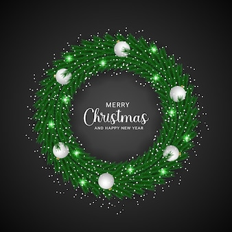 Realistische boom krans versierd kerst zwarte achtergrond ontwerpsjabloon