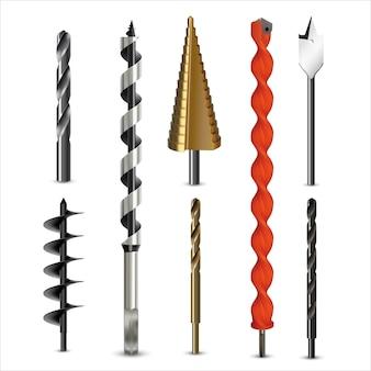 Realistische boren en avegaar voor verschillende soorten materialen