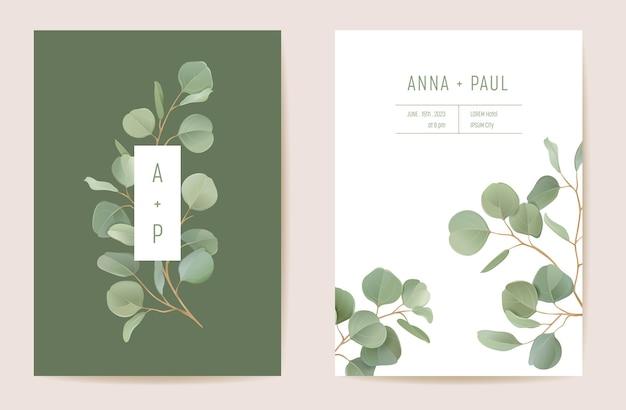 Realistische botanische bruiloft uitnodiging kaart sjabloonontwerp, bladeren groen kaderset. eucalyptus, groene bladtakken aquarel minimale vector. save the date moderne poster, trendy luxe achtergrond