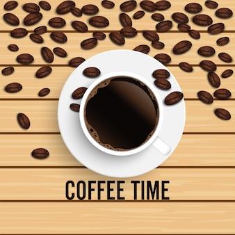 Realistische bovenaanzicht zwarte koffiekopje met bonen op houten