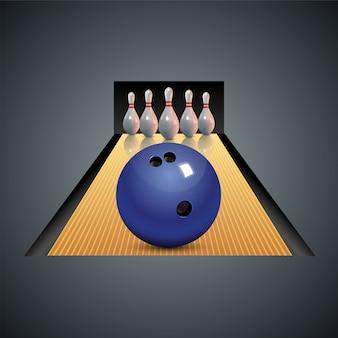 Realistische bowling op donkere grijze achtergrond. bowling met bal