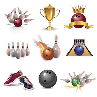 Realistische bowling set geïsoleerd op een witte achtergrond. bowling met bal