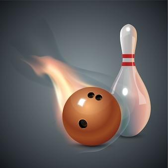 Realistische bowling set op donkere grijze achtergrond. bowling met bal