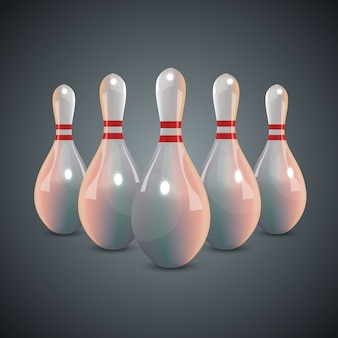 Realistische bowling set op donkere grijze achtergrond.