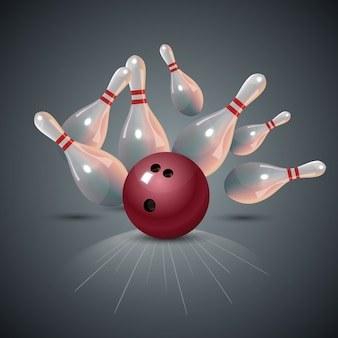 Realistische bowling staking concept op donkergrijze achtergrond.