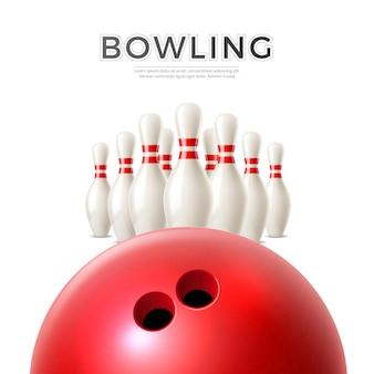 Realistische bowlingbal op achtergrond van kegelvormige pinnen