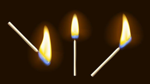 Realistische brandende matchstick vlam set met transparantie, geïsoleerd op zwarte achtergrond. vector illustratie