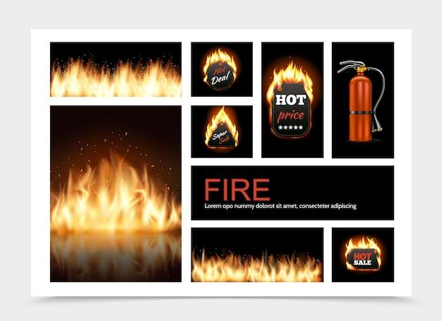 Realistische brandsamenstelling met hete vurige verkoopemblemen, vlamuitbarsting en brandblusserillustratie