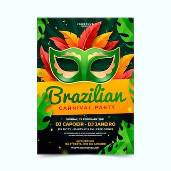Realistische braziliaanse carnaval-flyer