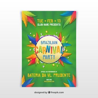 Realistische braziliaanse carnaval partij flyer / poster