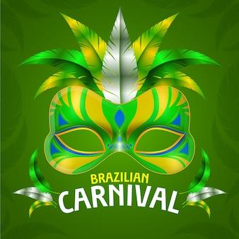 Realistische braziliaanse carnivall met groen en geel masker