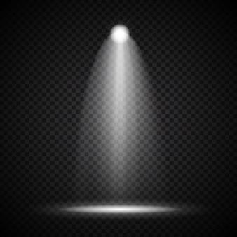 Realistische bright projectors verlichting lamp met spotlights lichteffecten met transparantie