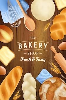 Realistische broodgebak bakkerij verticale omslag met sierlijke tekst op houten tafel met gebakken goederen