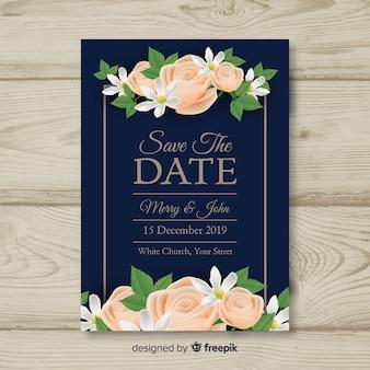 Realistische bruiloft uitnodiging sjabloon