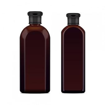 Realistische bruine fles voor cosmetica.