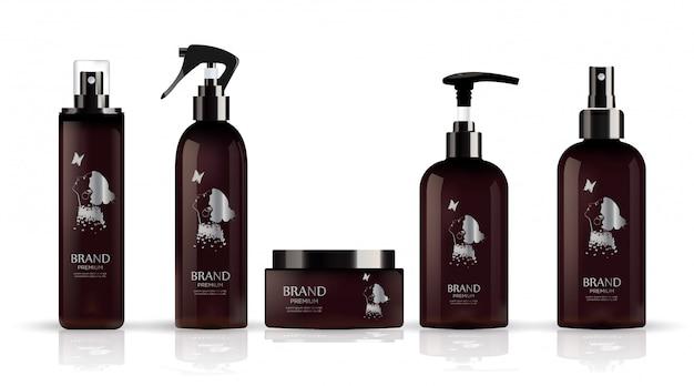 Realistische bruine fles voor kosmetische container.