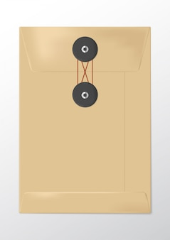Realistische bruine papieren envelop met knoop