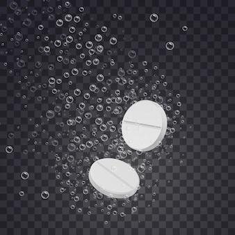 Realistische bruisende oplosbare tabletten in water
