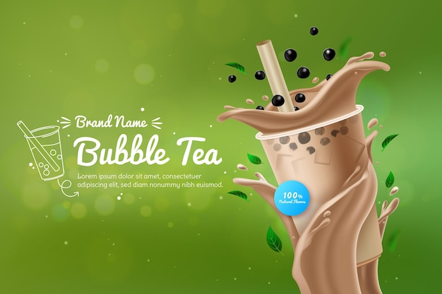 Realistische bubble tea-advertentie