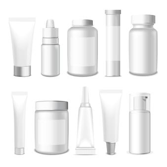 Realistische buizen, pot en pakket. witte cosmetica en medicijnen verpakking