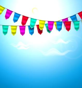 Realistische bunting vlag wolk hemel