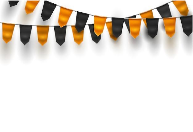 Realistische bunting vlaggen oranje zwart gekleurd voor halloween-illustratie