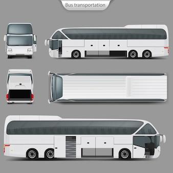 Realistische busbus mockup terug, bovenaanzicht