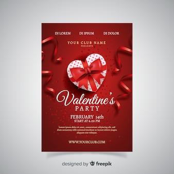 Realistische cadeau valentijnsfeest poster
