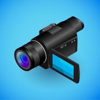 Realistische camerarecorder in isometrie vector isometrische illustratie van elektronisch apparaat